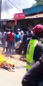 A woman burned to death in the streets of Kibera.