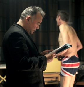 Stewart Lee (left) behind-the-scenes with Martin Soan at Pull The Other One