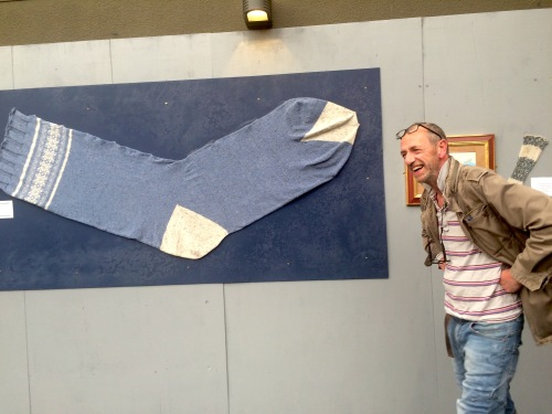 Arthur Smith and sock of 13ft Norwegian giantess Jadwiga