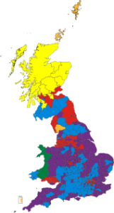 UK results of the 2014 European Parliament election. Districts where UKIP received the largest number of votes are shown in purple. (Map by MrPenguin20 on Wikipedia)