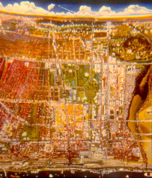 A slightly out-of-focus map of Toronto which Anna painted in around 1978.