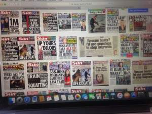 Some of the British newspaper headlines about the migrants