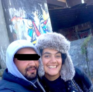 Becky Fury and friend in Calais