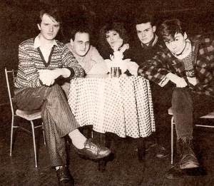 The Comedy Store Players (L-R Paul Merton, Dave Cohen, Kit Hollerbach, Neil Mullarkey, Mike Myers
