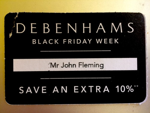 Debenhams' card voucher