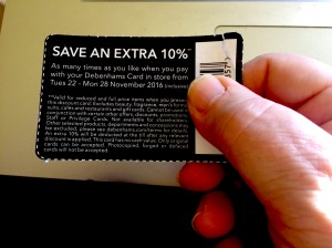 The back of Debenhams' card voucher