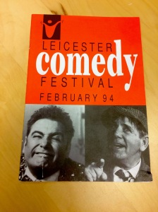 The first Festival programme with Tony Slattery (left) and Norman Wisdom