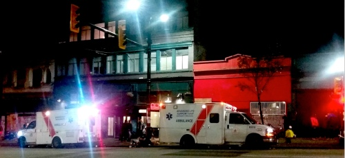 Ambulances waiting for overdose patients on Hastings Street