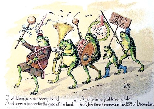 A 19th century Christmas card by Louis Prang, showing a group of anthropmorphized frogs parading with banner and band
