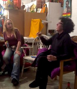 At last night's Grouchy Club, Kate Copstick (right) makes a shouty point to Sara Mason.