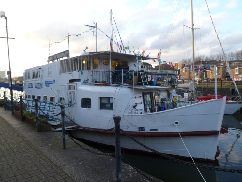 The Wibbley Wobbley in its original berth at Greenland Dock in February 2014