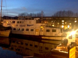 The Wibbley Wobbley tonight, in its new berth at South Dock Marina