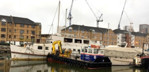 The Wibbley Wobbley was temporarily berthed in South Dock Marina, Rotherhithe(Photograph by Jody VandenBurg)