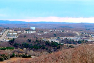 The bustling centre of Elliot Lake seen from the Fire Tower Lookout