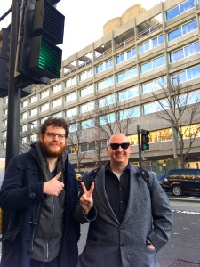 Nathan Willcock (left) and Phil Jarvis approve the brutalism of the Czech Embassy